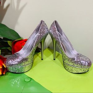 Beautiful Deb Sparkly Silver Pumps